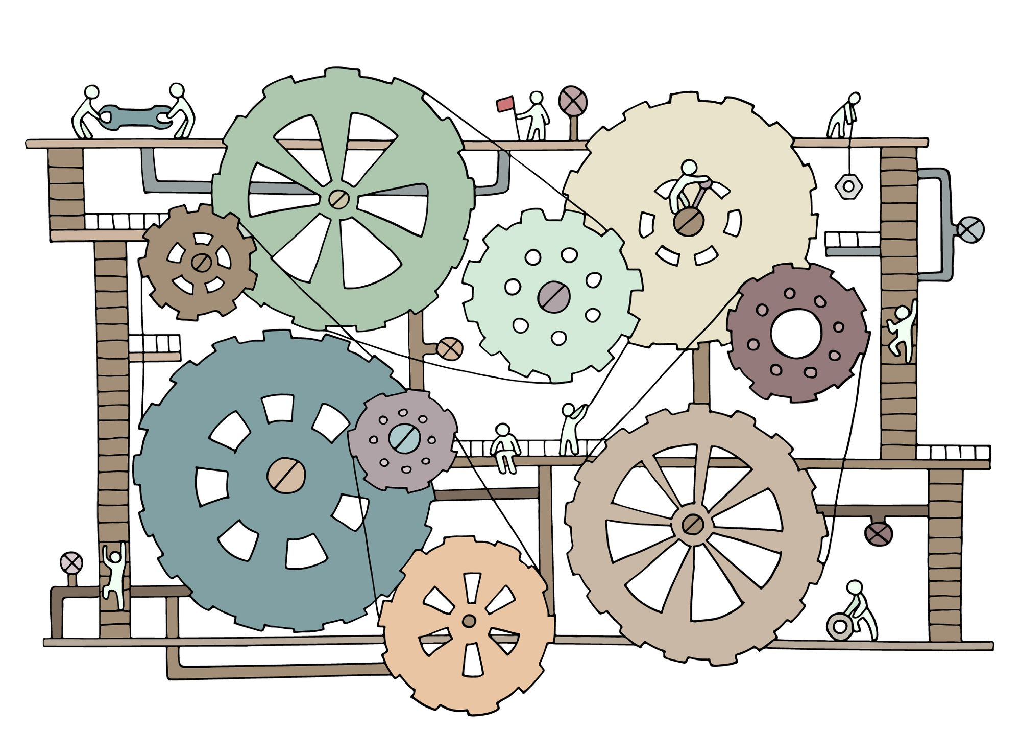 gears symbolizing teamwork and automation