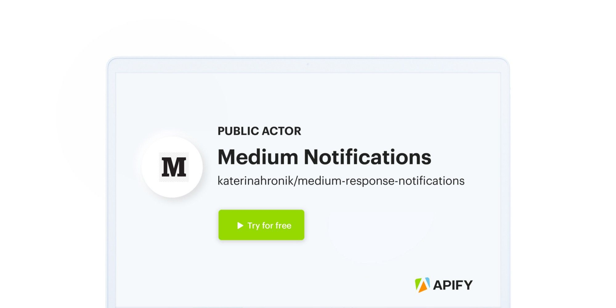 An image of Apify's Medium notifications actor